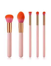 Fashion Pink+plum Red Round Shape Decorated Makeup Brush (5 Pcs )