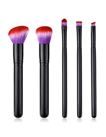 Fashion Black+purple Oblique Shape Decorated Makeup Brush (5 Pcs )