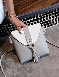 Fashion Gray Tassel Pendant Decorated Mini Bag