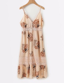 Fashion Pink Flower Pattern Decorated V Neckline Dress