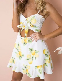 Fashion White Fruit Pattern Decorated Suspender Dress