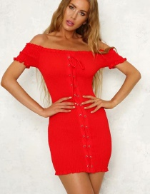 Fashion Red Pure Color Decorated Off Shoulder Dress