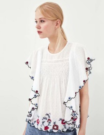 Elegant White Embroidered Flower Decorated Simple Blouse
