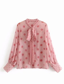 Elegant Pink Dots Pattern Decorated Long Sleeves Shirt