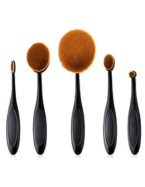 Fashion Black Round Shape Design Cosmetic Brush(5pcs)