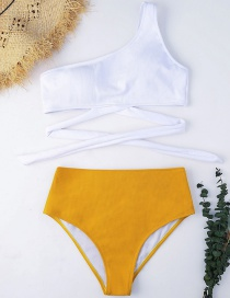 Sexy White+orange One-shoulder Design Pure Color Bikini