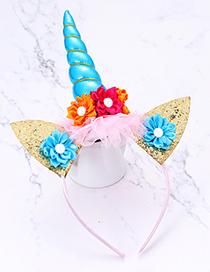 Fashion Blue Cat&unicorn Shape Decorated Hair Hoop