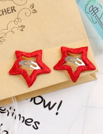 Fashion Red Star Shape Decorated Hair Clip