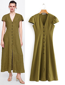 Fashion Olive Green Button Decorated V Neckline Dress