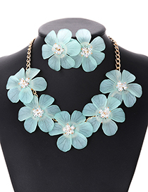 Elegant Light Green Pure Color Design Flower Shape Jewelry Sets