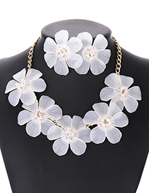 Elegant White Pure Color Design Flower Shape Jewelry Sets