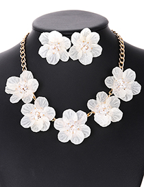 Elegant Beige Beads&flower Decorated Pure Color Jewelry Sets