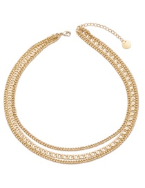 Elegant Gold Color Pure Color Design Multi-layer Choker