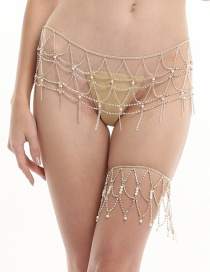 Elegant Gold Color Pearls&tassel Decorated Body Chain(2pcs)
