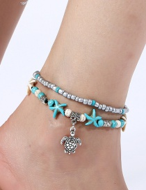 Elegant Blue Conch&starfish Decorated Double Layer Anklet