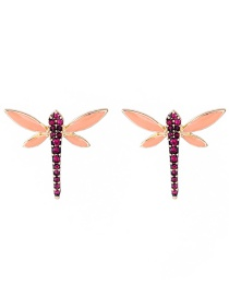 Elegant Orange Full Diamond Design Dragonfly Shape Earrings