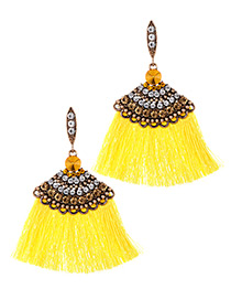 Elegant Yellow Diamond Decorated Tassel Earrings