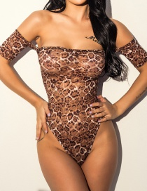 Sexy Brown Leopard Pattern Deccorated Off Shoulder Jumpsuit