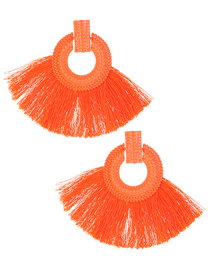 Fashion Orange Pure Color Design Tassel Earrings