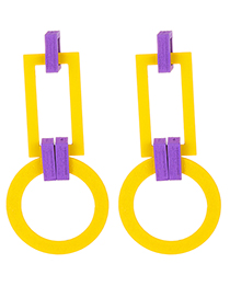 Fashion Yellow Geometric Shape Design Long Earrings