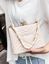 Lovely Beige Heart Pattern Decorated Pure Color Bag