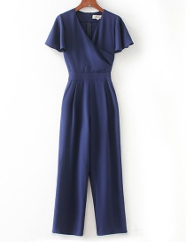 Elegant Blue V Neckline Design Pure Color Jumpsuit
