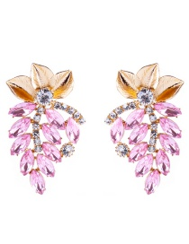Elegant Pink Leaf Decorated Hollow Out Earrings