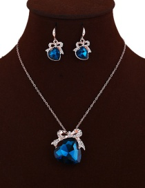 Elegant Blue Heart Shape Pendant Decorated Jewelry Sets