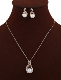 Elegant Gold Color Pearls&diamond Decorated Jewelry Sets