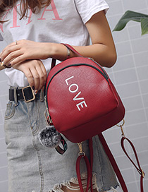 Fashion Claret Red Letter Pattern Decorated Bag