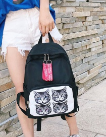 Fashion Black Cat Pattern Decorated Backpack