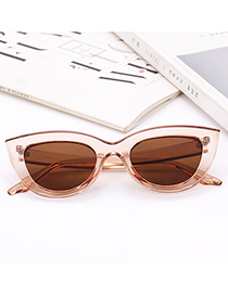 Fashion Khaki Pure Color Decorated Glasses