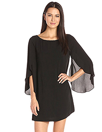 Fashion Black Pure Color Decorated Long Sleeves Dress