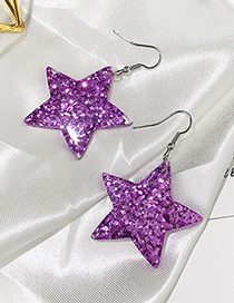 Fashion Purple Star Shape Decorated Earrings