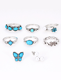 Fashion Blue Butterfly Shape Decorated Jewelry Sets(8pcs)