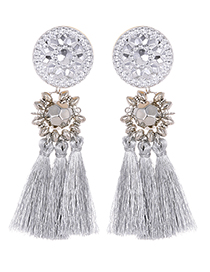 Fashion Gray Round Shape Decorated Tassel Earrings