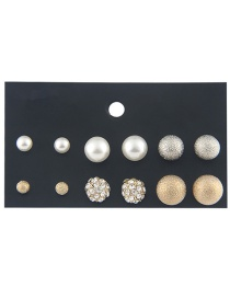 Fashion Gold Color Round Shape Decorated Earrings (12 Pcs )