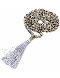 Fashion Gray Bead&tassel Decorated Necklace