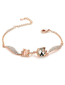 Fashion Gold Color Cat Shape Decorated Bracelet