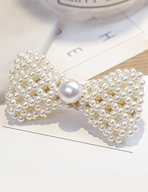 Fashion White Tie Shape Decorated Hair Clip