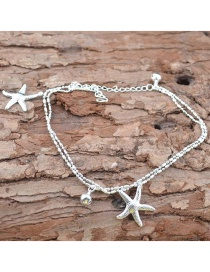 Fashion Silver Color Starfish Shape Decorated Anklet