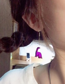 Fashion Purple Dinosaur Shape Decorated Earrings