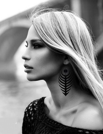 Fashion Black Feather Shape Decorated Earrings