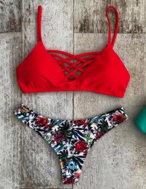 Vintage Red Flower Pattern Decorated Bikini