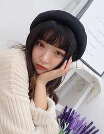 Fashion Black Round Shape Design Pure Color Hat