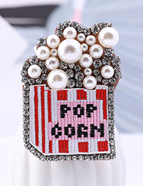 Fashion Red Letter Pattern Decorated Brooch