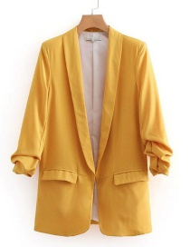 Fashion Yellow Pure Color Design Long Sleeves Casual Coat