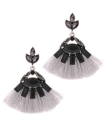 Fashion Gray Sector Shape Design Tassel Earrings