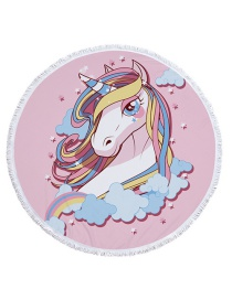 Fashion Pink Unicorn Decorated Round Shape Beach Towel