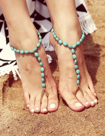 Fashion Blue Beads Decorated Simple Anklet